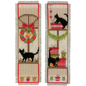 "2.5""X8"" 14 Count Set Of 2 - Christmas Atmosphere Bookmarks On Aida Counted Cross Stitch"