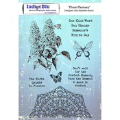 """Floral Fancy - Indigoblu Cling Mounted Stamp 8""""X5.5"""""""