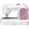 White W/Pink Accents - Singer Curvy Sewing Machine Singer-Curvy Sewing Machine: White With Pink Accents. This machine offers a world of functionality for sewers, featuring an exclusive SWIFTSMART threading system and DROP & SEW bobbin system. These features together, make threading a cinch, giving you more time to explore your creativity and less time threading. Additional easy features allow you to sew ahead of the curve! This 14x19-1/2x11-1/4 inch package contains one sewing machine with 225 built-in stitches, three lamps, six fully automatic 1-step buttonholes, memory capabilities, LCD screen, five presser feet, needles, bobbins, thread spool caps, auxiliary spool pin, spool pin felt, screwdriver, seam ripper/lint brush, dust cover, power cord, foot pedal, quick start guide, machine intro DVD and instruction manual. Imported.