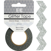 Silver Chevron - Best Creation Designer Glitter Tape 15mmX5m