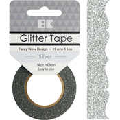 Silver Fancy Wave - Best Creation Designer Glitter Tape 15mmX5m