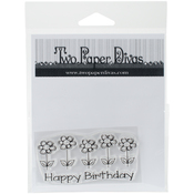 "Birthday Flowers - Two Paper Divas Clear Stamps 6""X4.5"""