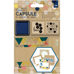 Papermania Geometric Kraft Mini Cards & Stamps Set 15/Pkg