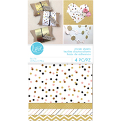 "Dots & Stripes, Pastel & Gold - Momenta Sticker Paper Sheets 5""X9"""
