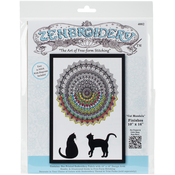 "Cat Mandala - Zenbroidery Stamped Embroidery 10""X16"""
