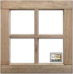 "Weathered Wood 16""X16""X1.25"" - Salvaged 4-Pane Wood Window Frame"