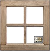 "Weathered Wood 16""X16""X1.25"" - Salvaged 4-Pane Wood Window Frame"