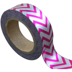 Silver/Pink Stripes - Love My Tapes Foil Washi Tape 15mmx10m