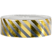 Black Gold Stripes - Love My Tapes Foil Washi Tape 15mmx10m