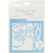 """Swirls & Pearls - Rebecca Baer Stencil 5.75""""X5.75"""""""