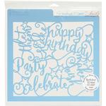 "Birthday Wishes - Rebecca Baer Stencil 11.75""X11.75"""