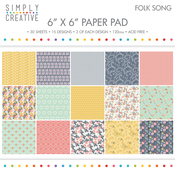 "Folk Song - Simply Creative Paper Pad 6""X6"" 30/Pkg"