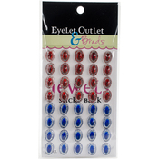 Red/Blue - Bling Self-Adhesive Oval Jewels 12mm 40/Pkg
