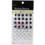 White/Black - Bling Self-Adhesive Round Jewels 12mm 40/Pkg