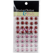 Red/Pink - Bling Self-Adhesive Round Jewels 12mm 40/Pkg
