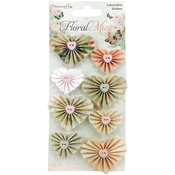 Hearts - Dovecraft Floral Muse Accordion Stickers 8/Pkg