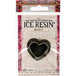 Antique Bronze - Ice Resin Milan Bezels Closed Back Medium Heart