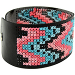 "8""X1.5"" Black - Faux Leather Bracelet Punched For Cross Stitch"