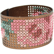 "8""X1.5"" Metallic Copper - Faux Leather Bracelet Punched For Cross Stitch"