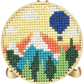 "3"" Round - Round Wood Display W/Easel Punched For Cross Stitch"