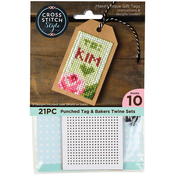 "4""X2"" 10/Pkg - Gift Tags W/Bakers Twine Punched For Cross Stitch"