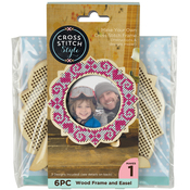 """4.75"""" Round - Wood Frame W/Easel Punched For Cross Stitch"""