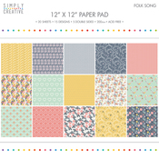 "Folk Song - Simply Creative Paper Pad 12""X12"" 20/Pkg"