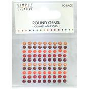 Red & Orange - Simply Creative Round Adhesive Gems 90/Pkg