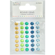 Green, Blue & Yellow - Simply Creative Round Adhesive Gems 35/Pkg