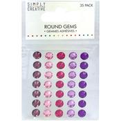 Pink & Purple - Simply Creative Round Adhesive Gems 35/Pkg