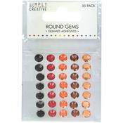 Red & Orange - Simply Creative Round Adhesive Gems 35/Pkg