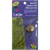 Round Brass Swirl With Flower - LoRan Shawl Pin
