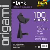 """Black - Folia Solid Origami Paper 6""""X6"""" 100/Pkg"""