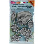 """Seashells - Stampendous Fran's Cling Stamps & Stencils 5""""X7"""""""