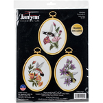 """3""""X4"""" Stitched In Floss - Hummingbirds Embroidery Kit Set Of 3"""