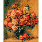 """15.75""""X19"""" 14 Count - Bouquet Of Roses After Renoir's Painting Counted Cross Stitc"""