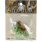 Fancy Green Bottles - Steampunk Glass Accents 3/Pkg