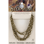 "Gold Style A - Steampunk Metal Chain 39"" 1/Pkg"