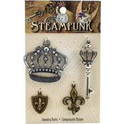Crowns & Fleur De Lis - Steampunk Metal Accents 4/Pkg