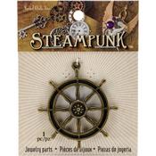 Ships Wheel - Steampunk Metal Pendant 1/Pkg