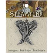 Crossed Wings Silver - Steampunk Metal Pendant 1/Pkg