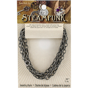 "Antique Silver Style A - Steampunk Metal Chain 39"" 1/Pkg"