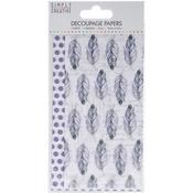 Purple Feathers - Simply Creative Decoupage Paper 18.8cm X 35cm 4/Pkg
