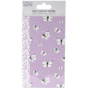 Lilac Butterflies - Simply Creative Decoupage Paper 18.8cm X 35cm 4/Pkg