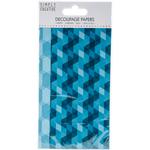 Aqua Geometric - Simply Creative Decoupage Paper 18.8cm X 35cm 4/Pkg