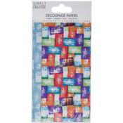 Coloured Blocks - Simply Creative Decoupage Paper 18.8cm X 35cm 4/Pkg