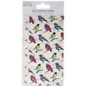Vibrant Birds - Simply Creative Decoupage Paper 18.8cm X 35cm 4/Pkg