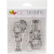 "Cupcakes And Balloons - Pinkies Clear Stamps 4""X4"""