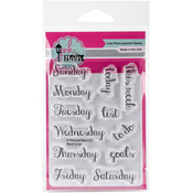 "Week Script - Pink & Main Clear Stamps 3""X4"""