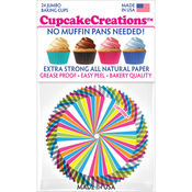 Rainbow Swirl 24/Pkg - Jumbo Baking Cups